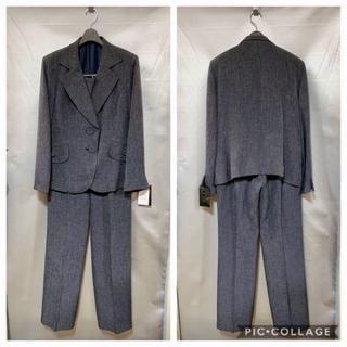 新品17号★グレー系★胸当て付きテーラーパンツスーツ★大きいサイズ(スーツ)