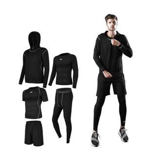 スポーツウェア 運動服 上下 5点セット メンズ 黒 送料無料(ウェア)