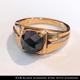 リング 18金 ダイヤ k18 天然 ブラック ダイヤモンド リング 天然石(リング(指輪))