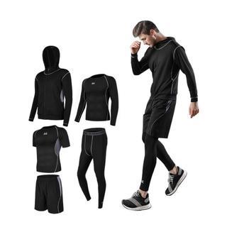 スポーツウェア 運動服 上下 5点セット メンズ BLACK+GRAY 送料無料(ウェア)