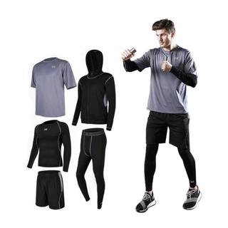 スポーツウェア 運動服 上下 5点セット メンズ GRAY+BLACK(ウェア)