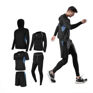 スポーツウェア 運動服 上下 5点セット メンズ BLACK+BLUE 送料無料(ウェア)