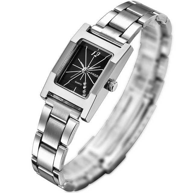 371. レディース 腕時計 日本製クオーツ 四角型 小さい 軽い ブラックの通販 by るんるん's shop|ラクマ