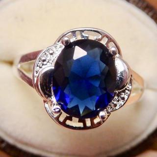 キラキラ高品質*サファイアカラーのシルバーカラーリング指輪(リング(指輪))