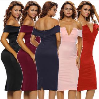 オフショル◆新品◆上質厚手◆インポート◆Vラインミディアムドレス◆赤(ミディアムドレス)
