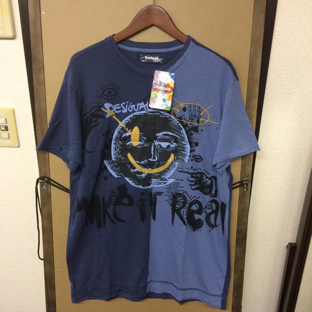 DESIGUAL(デシグアル)の【新品】DESIGUAL アシンメトリー スマイルTシャツ Lサイズ メンズのトップス(Tシャツ/カットソー(半袖/袖なし))の商品写真