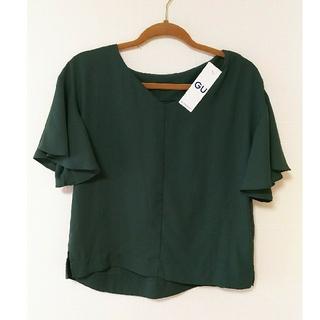 ジーユー(GU)の新品未使用 ジーユー フリアスリーブ Vネックブラウス S(シャツ/ブラウス(半袖/袖なし))