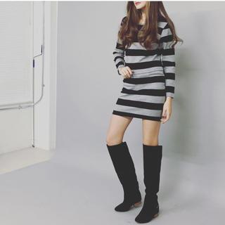 ニーナミュウ(Nina mew)の【送料込】Nina mew ボーダータイトスカート(ミニスカート)