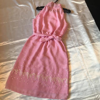 ◆発表会演奏会司会パーティ◆薄いピンク+刺繍◆アメスリミニドレス◆(ミニドレス)