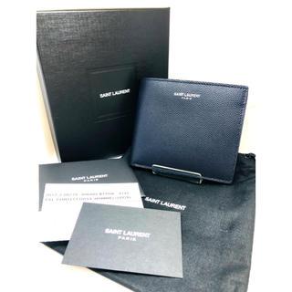 サンローラン(Saint Laurent)のSAINTLAURENT/サンローラン レザー折財布 美品 正規品 ネイビー(折り財布)