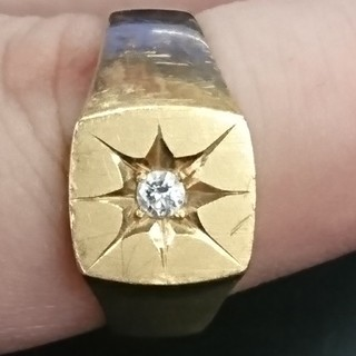 k18 印台 ダイヤリング(リング(指輪))
