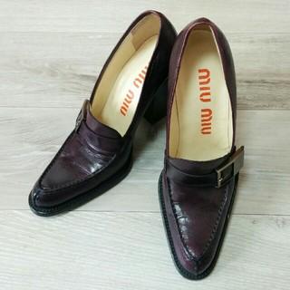 ミュウミュウ(miumiu)の【miu miu パンプス】ミュウミュウ パープル 靴 ブーツ(ハイヒール/パンプス)