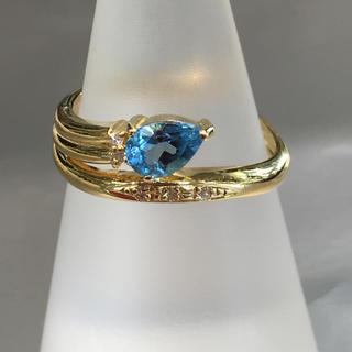 K18 ブルートパーズ/ダイヤ0.03ctリング指輪(リング(指輪))