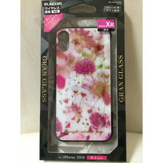 エレコム(ELECOM)のiPhoneXR ケース ハーバリウムピンク ガラスケース アイフォーン カバー(iPhoneケース)