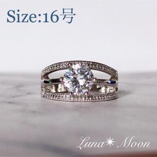 3連風6爪CZダイヤリング(16号)★シルバー、巾着付き、即日発送(リング(指輪))