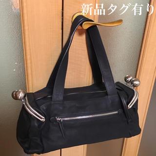 *希少*新品タグ有*KawaKawa カワカワ 両がま口 レザーバッグ 黒