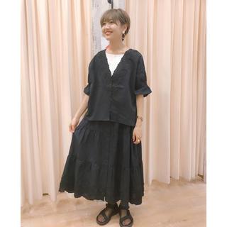 サマンサモスモス(SM2)のエリカ様 専用❣️SM2 裾スカラップティアードスカート ブラック(ひざ丈スカート)