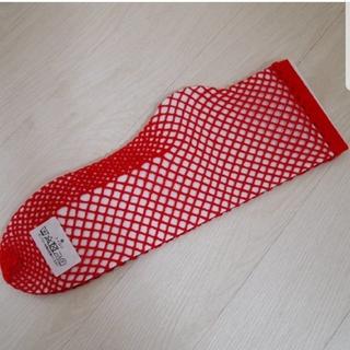 ジャーナルスタンダード(JOURNAL STANDARD)の新品ジャーナルスタンダード 編みソックス 靴下 レース 赤(ソックス)