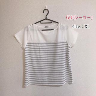 ジーユー(GU)の薄手Tシャツ  飾りボタン  グレー  ボーダー  XLサイズ(Tシャツ(半袖/袖なし))