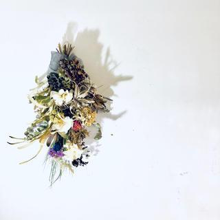 【完売・展示品】スワッグ 胡蝶蘭 エアプランツ アジサイ バラ等 H70cm(ドライフラワー)