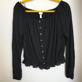 エイチアンドエム(H&M)の前ボタン フェイク 長袖シャツ 黒 未使用 短め丈 Mサイズ (Tシャツ(長袖/七分))