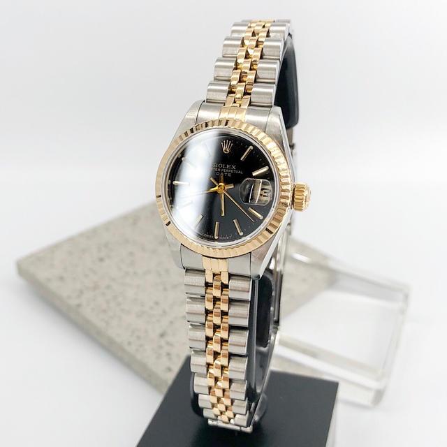 ROLEX - 【仕上済】ロレックス オイスター デイト 黒文字盤 コンビ レディース 腕時計の通販 by LMC|ロレックスならラクマ