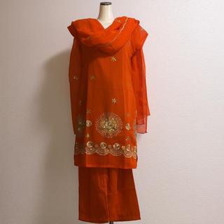 インド パンジャビドレス サルワールカミーズ オレンジ(その他ドレス)