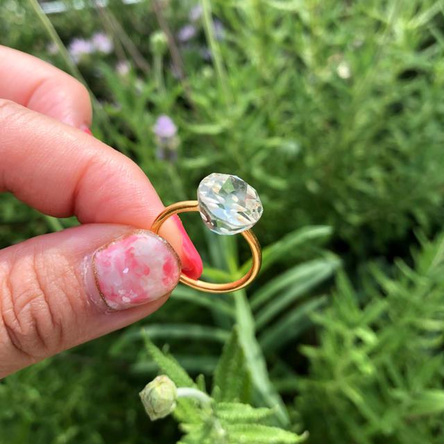 新品 グリーンアメシスト サークル リング インドジュエリー レディースのアクセサリー(リング(指輪))の商品写真