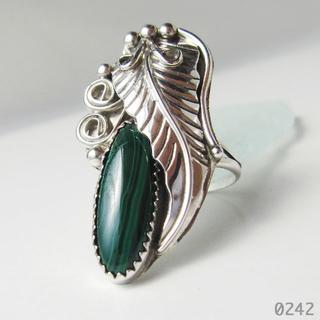 シルバー インディアンジュエリー 孔雀石 マラカイト フェザー 純銀 刻印 14(リング(指輪))