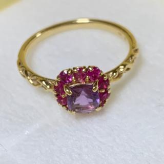 花の色のハーモニーリング ベーネベーネ 15号 美品 イエローゴールド 18金(リング(指輪))