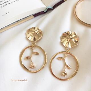 カスタネ(Kastane)のgold plate×rose ring pierce*.(ピアス)