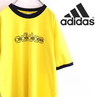 アディダス(adidas)の古着 美品 adidas アディダス リブTシャツ ビッグロゴ オーバーサイズ(Tシャツ/カットソー(半袖/袖なし))