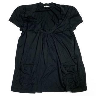 ミュウミュウ(miumiu)のミュウミュウ 半袖 ギャザー カットソー MIUMIU 黒 ブラック(カットソー(半袖/袖なし))