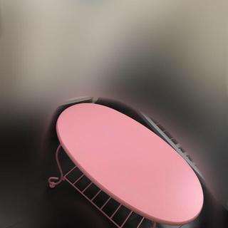 猫脚 アイアンテーブル ピンク 楕円形(ローテーブル)