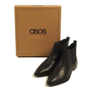 エイソス(asos)のASOS サイドゴアブーツ ブラック 黒 本革 UK5 箱付き(ブーツ)