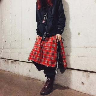 Plaid Bandana Zip Skirt - Red - (その他)