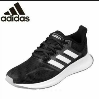 アディダス(adidas)のadidas FALCONRUN W 23cm ブラック×白ラインスニーカー(スニーカー)