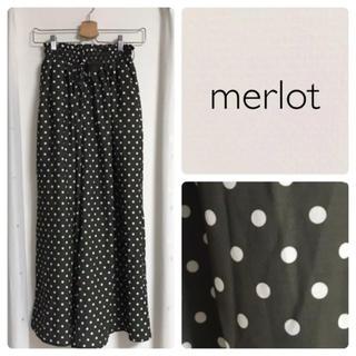メルロー(merlot)の美品♡メルロー 水玉ワイドパンツ(カジュアルパンツ)