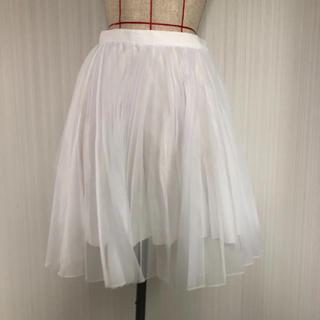 ルシェルブルー(LE CIEL BLEU)の新品未使用!ルシェルブルー オーガンジー ホワイトプリーツスカート(ひざ丈スカート)
