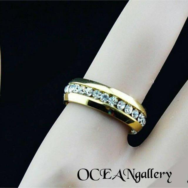 送料無料 20号 ゴールドサージカルステンレススーパーCZ フルエタニティリング メンズのアクセサリー(リング(指輪))の商品写真