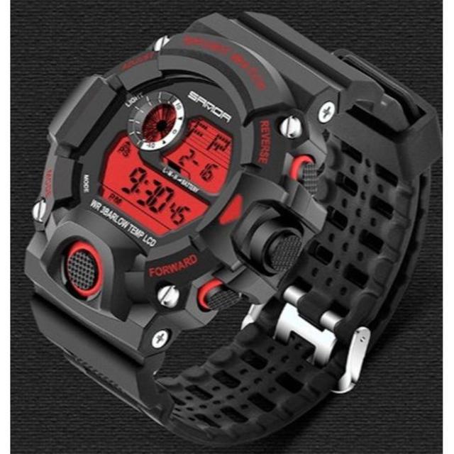 赤 ビッグフェイス ダイバーズウォッチ 高級感 メンズ腕時計デジタルの通販 by ポール's shop|ラクマ
