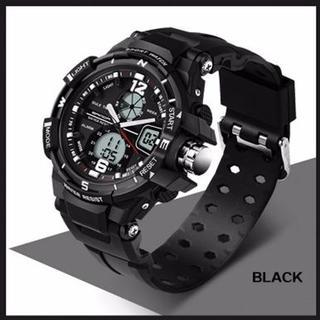 黒 デュアルディスプレイ 防水ダイバーズ ウォッチ(腕時計(デジタル))
