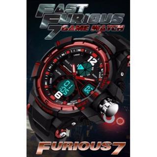 赤 デュアルディスプレイ 防水ダイバーズ ウォッチ(腕時計(デジタル))