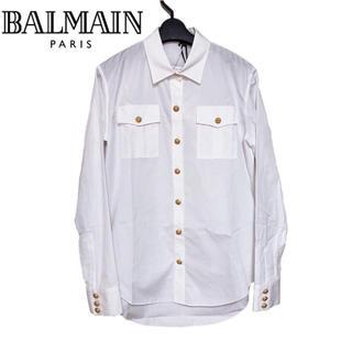 バルマン(BALMAIN)の【新品】BALMAIN バルマン ゴールドボタン ポムリン コットンシャツ 38(シャツ/ブラウス(長袖/七分))