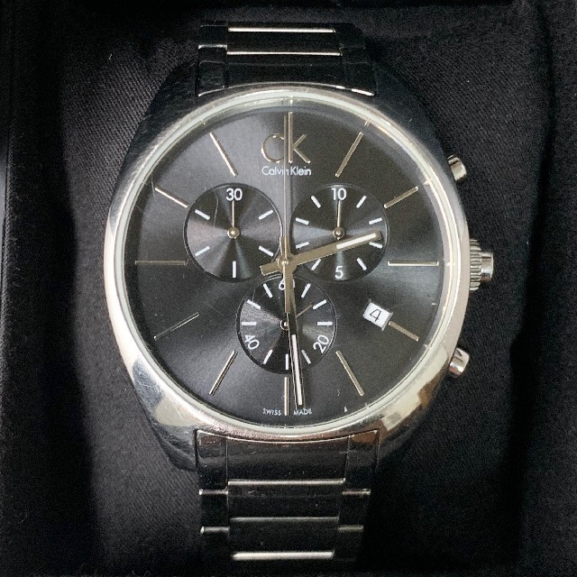 Calvin Klein - カルバンクライン K2F271 黒文字盤 スモセコ クロノグラフ デイトの通販 by タンポポ腕時計|カルバンクラインならラクマ