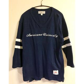 アメリカーナ(AMERICANA)のAmericana アメリカーナ Vネック ネイビー 七分袖 ライン Tシャツ (Tシャツ(長袖/七分))