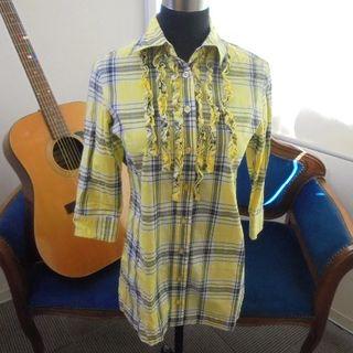 ニッセン(ニッセン)のシャツ チュニック イエロー チェック Sサイズ 七分袖 FA0673(チュニック)