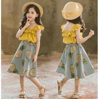 可愛い 女の子 韓国 夏 2点セットファッション感 スリング+ パイナップル柄(ワンピース)