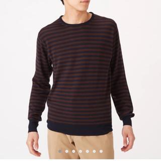 ムジルシリョウヒン(MUJI (無印良品))の無印良品 メリノウール洗えるハイゲージボーダークルーネックセーター メンズM(ニット/セーター)