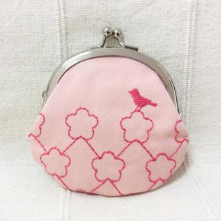 アダムエロぺ(Adam et Rope')のアダムエロぺ購入 桜 小鳥刺繍 ミニがま口 ピンク 和柄(ポーチ)